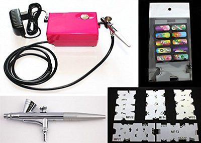 Ebest Multi-purpose Airbrush Nail Art System Compressor W/ 5PC Random Stencil