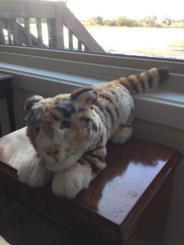 "Steiff Molly Taky Tiger Lying Woven Fur Plush 17""l ID Button Tag 1986 -90"