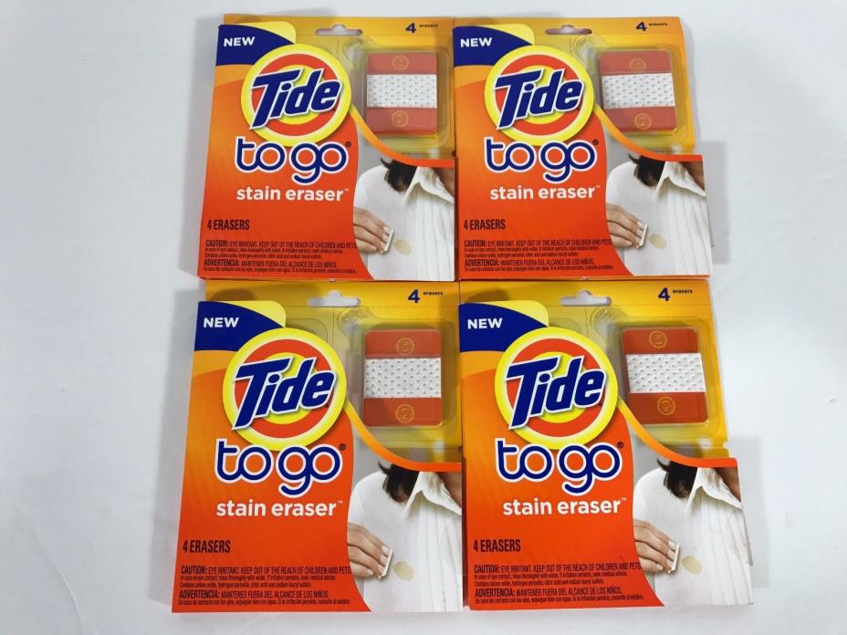 Lot of 4 Tide To Go Stain Eraser 4 Count Packs Boxes 16 Erasers New Sealed