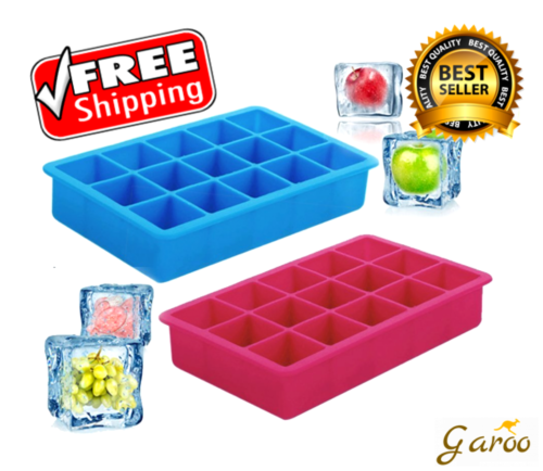 Silicone Ice Cube Trays Tray Mold Form Square Chocolate Candy Whiskey 2 Units