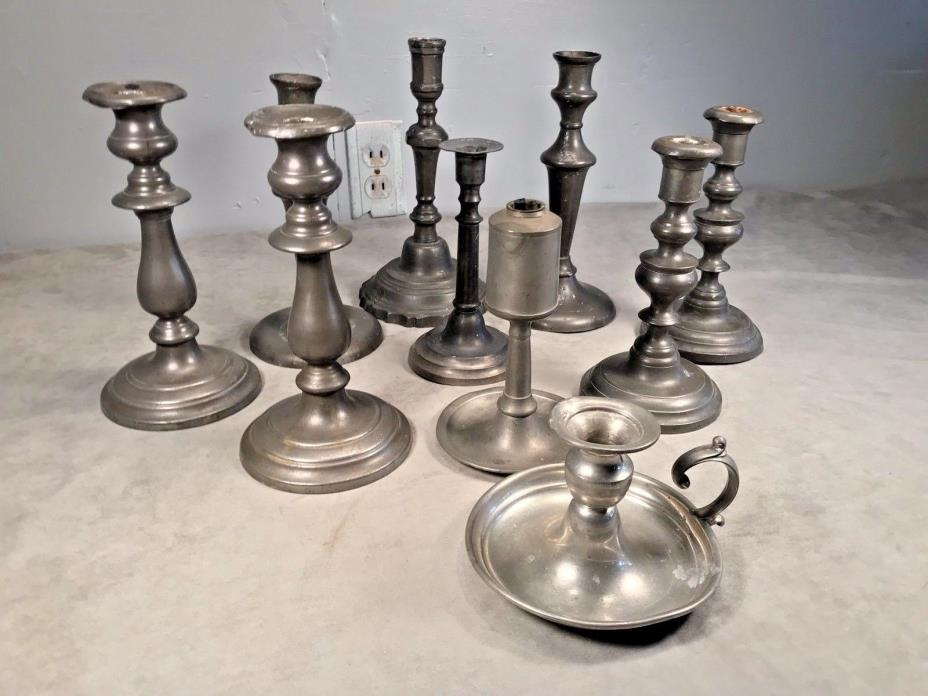 Antique PEWTER CANDLESTICK Large Set Of 10 American English Estate Lot 18th 19th