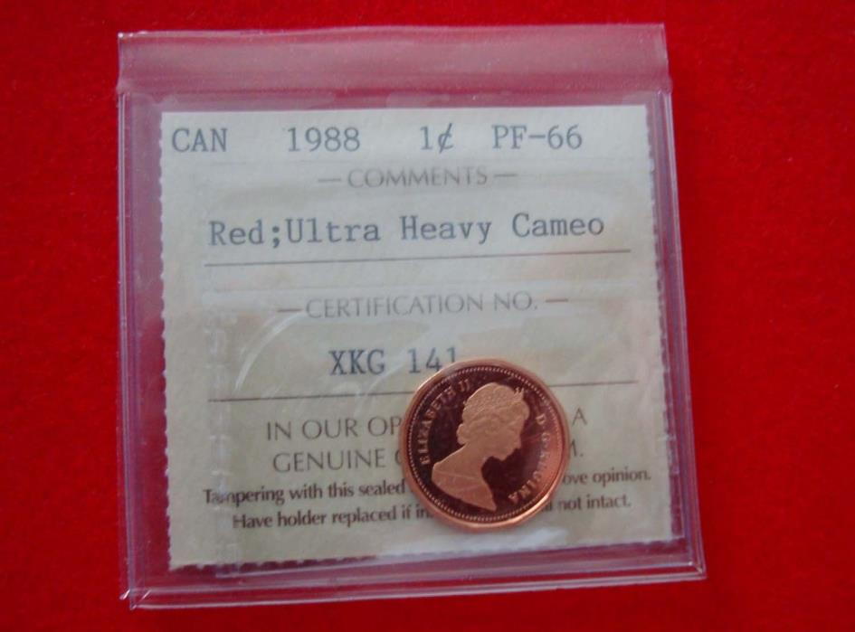 1988 Canada Proof 1-cent  ICCS PF-66 UHC Red