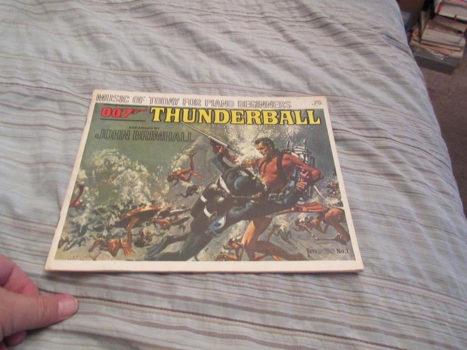 1965 Action Scene Cover James Bond 007 Thunderball Movie Piano Sheet Music #1