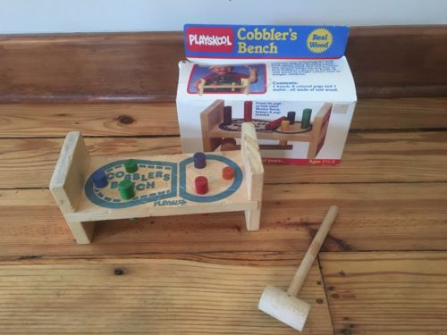 Vintage Playskool Cobblers Bench No.100 Wood Pegs Wooden Hammer Box