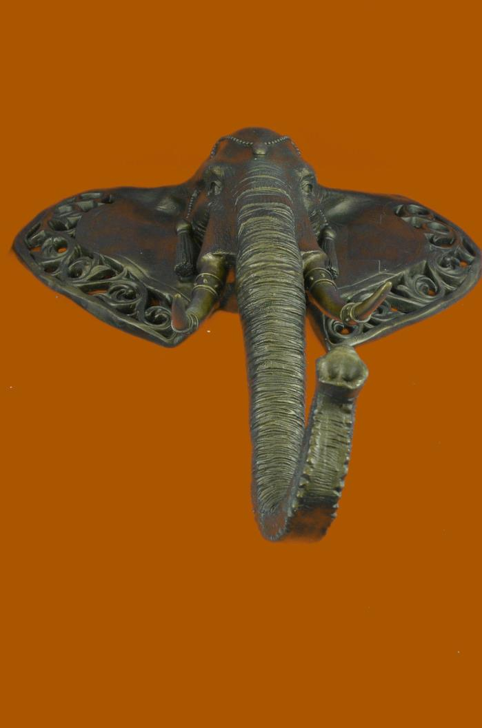 Huge Sale Wall mount Elephant Head Bronze Sculpture Home Cabin FigurineSB