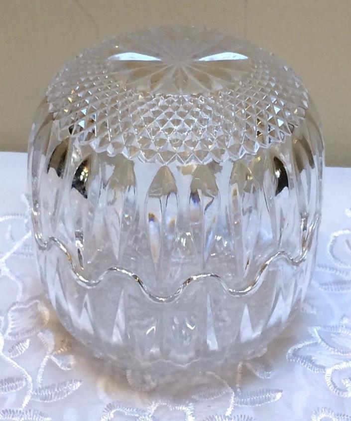 Vintage Crystal Cut Glass Interlocking Candy Trinket Dish Egg Shaped Clear 5