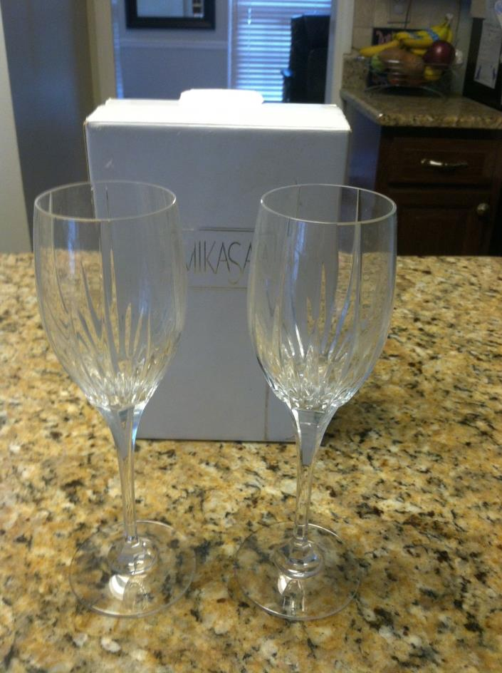 Set of 2 Mikasa Arctic Lights Cordial wine goblet glass stemware crystal lot box