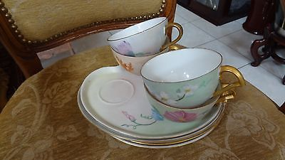 Vintage Japanese Gold Trim Porceleain Sandwhich Plates with Cups