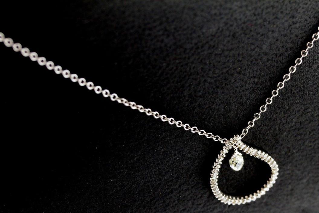 18k solid white Gold Diamond Pendant Necklace adorned with Briolette Diamond