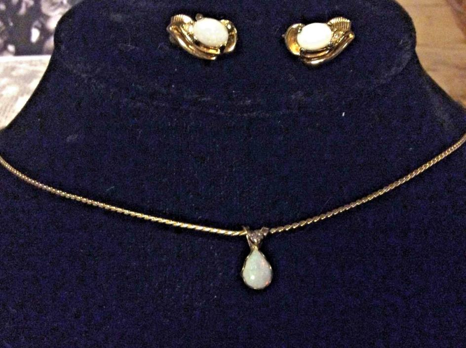Opal Necklace And Earrings Set