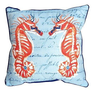 Coral Seahorses on Blue 18 Inch Large Indoor Outdoor Pillow Betsy Drake Design