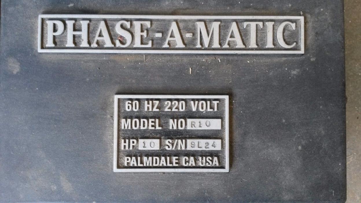Phase-A-Matic 10 horsepower phase converter, lightly used