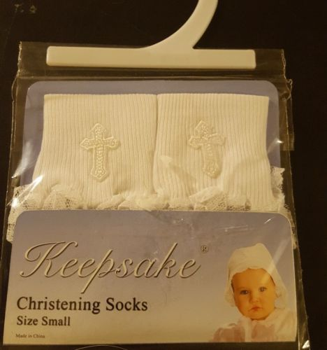 NIP Keepsake Girls Lacy Christening Socks small shoe size 0-1 sock 0-4