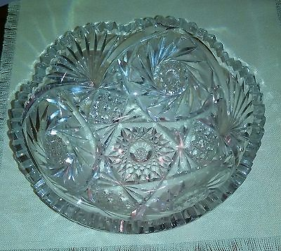 ANTIQUE AMERICAN BRILLIANT DEEP CUT GLASS CRYSTAL BOWL