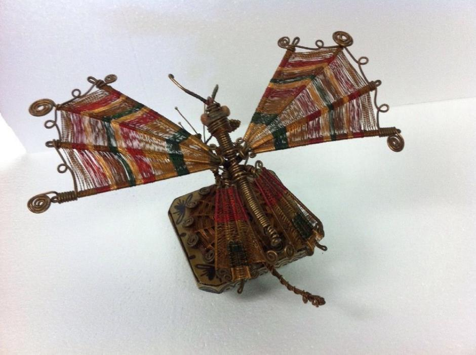 Awesome One of A Kind Hand Crafted Copper Art Dragon Fly / Butterfly steam punk