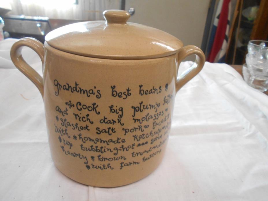 vintage England crock bean pot with Grandma's Best Bean  recipe on it