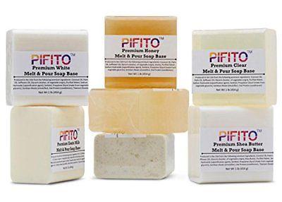 Pifito Premium Melt and Pour Soap Base Sampler Assortment of 7 Bases 1lb ea ;