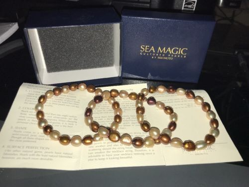 Sea Magic Cultured Pearls by Mikimoto Cream/Chocolate Pearl 3-Piece Bracelet Set