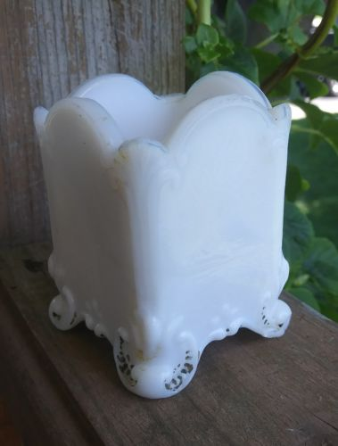 Antique Milk Glass Toothpick Holder Vintage Victorian