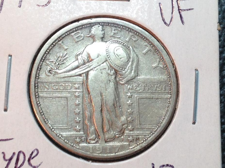 1917-S Type 1  VF  Standing Liberty Quarter   Nice Coin