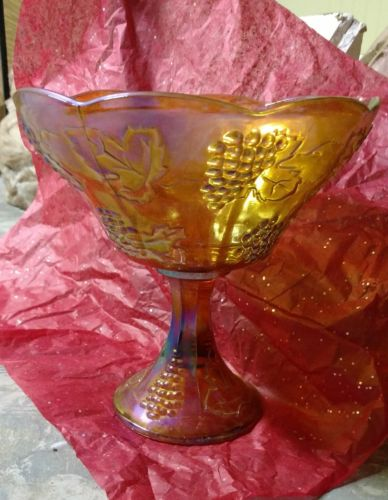 carnival glass stem bowl large