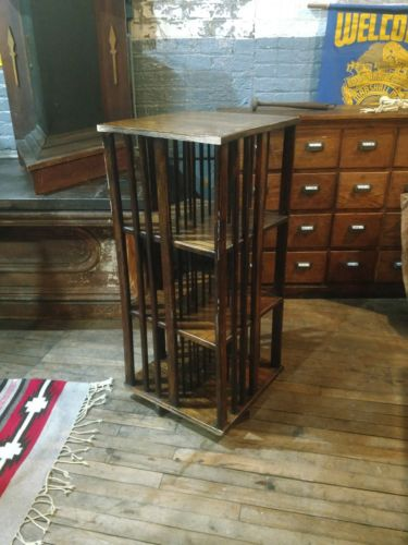 1920s Oak Revolving Book Case Base Study Office Mission Library Arts and Crafts