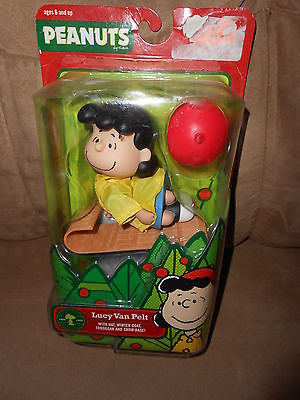 Peanuts Christmas Lucy Van Pelt w/Hat, Winter Coat, Tobaggan and Snow Base NEW