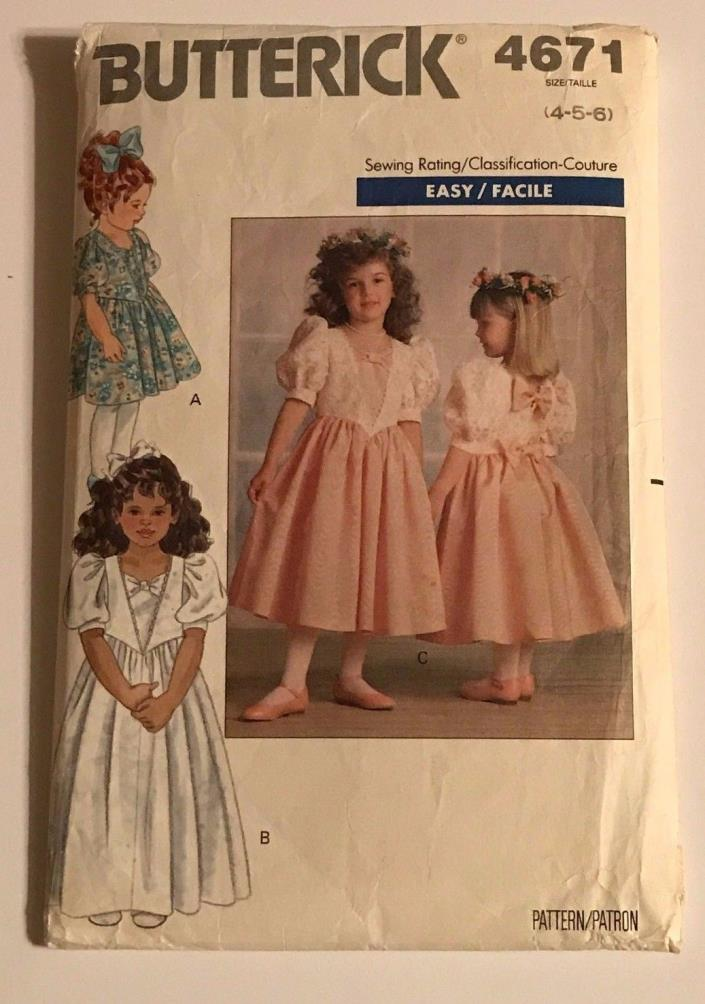 Butterick 4671 Sewing Pattern Girls Dresses Easy Size 4-5-6 Vintage