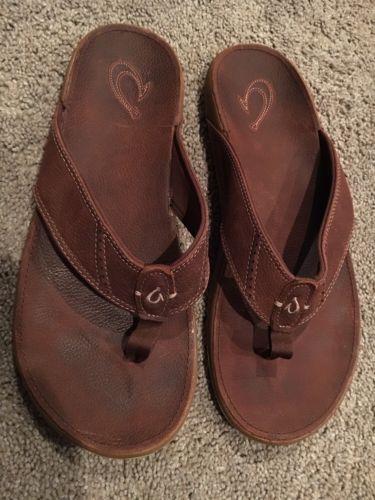 Men's Brown OluKai Sandals, Size 12 M