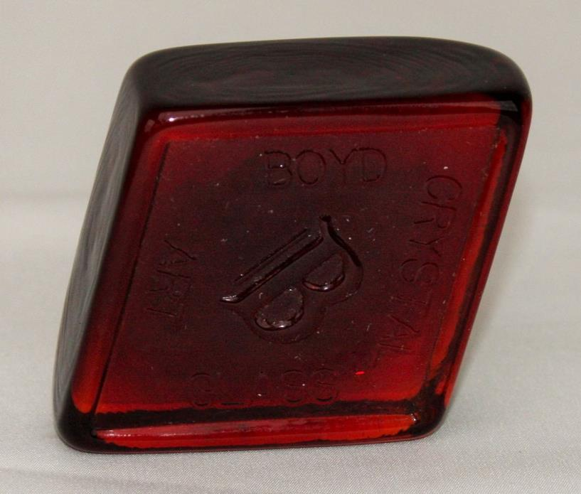 Boyd Crystal Art Glass Diamond Logo Paperweight ~ Flame