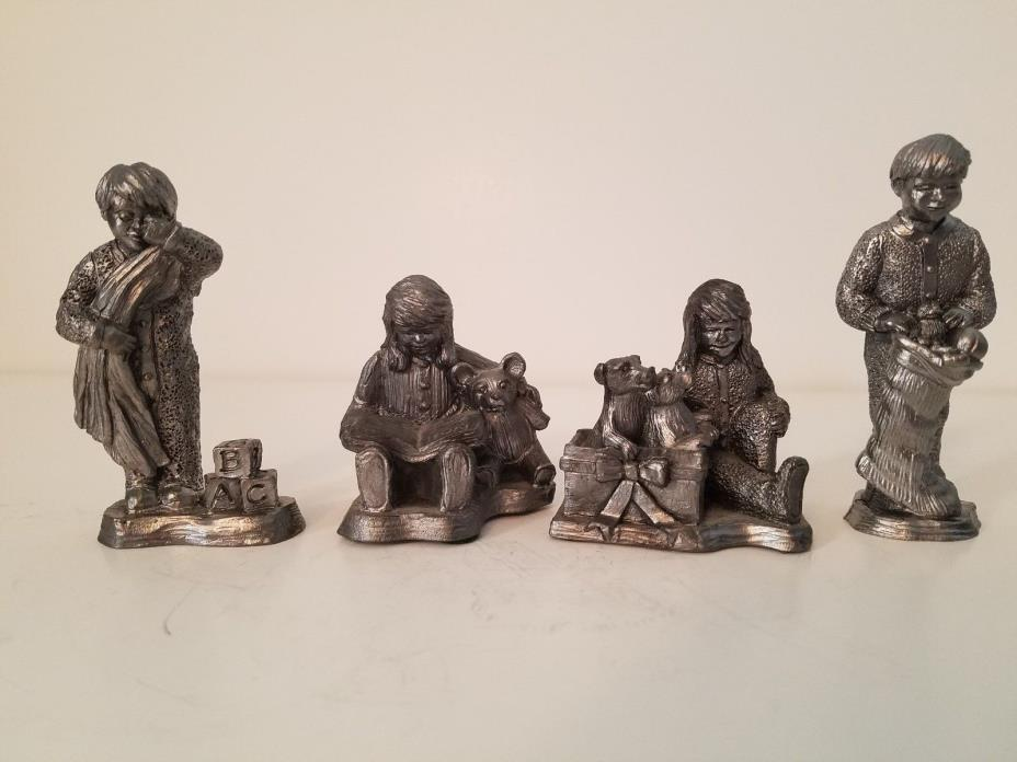 Michael Ricker Pewter-Gifts of Love-Girl Puppy,Tired Boy,Girl Book,Boy Stocking