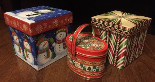 Set of 3 CHRISTMAS HOLIDAY BOXES / TIN Metal Gift Boxes