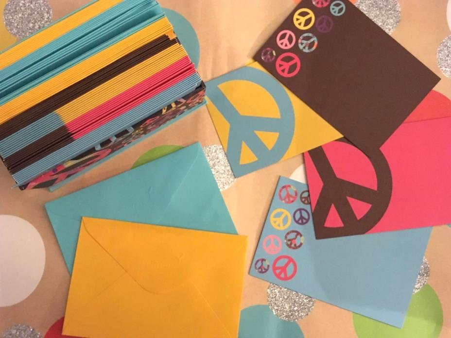 Papyrus Stationary 4 Different Peace Designs w Stationary Envelopes Box Holder