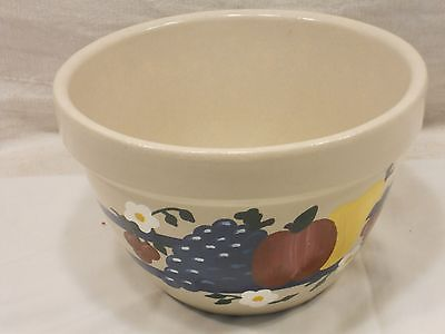 ROSEVILLE U.S.A. POTTERY, MIXING BOWL, BLUE BAND W/FRUIT DECORATION