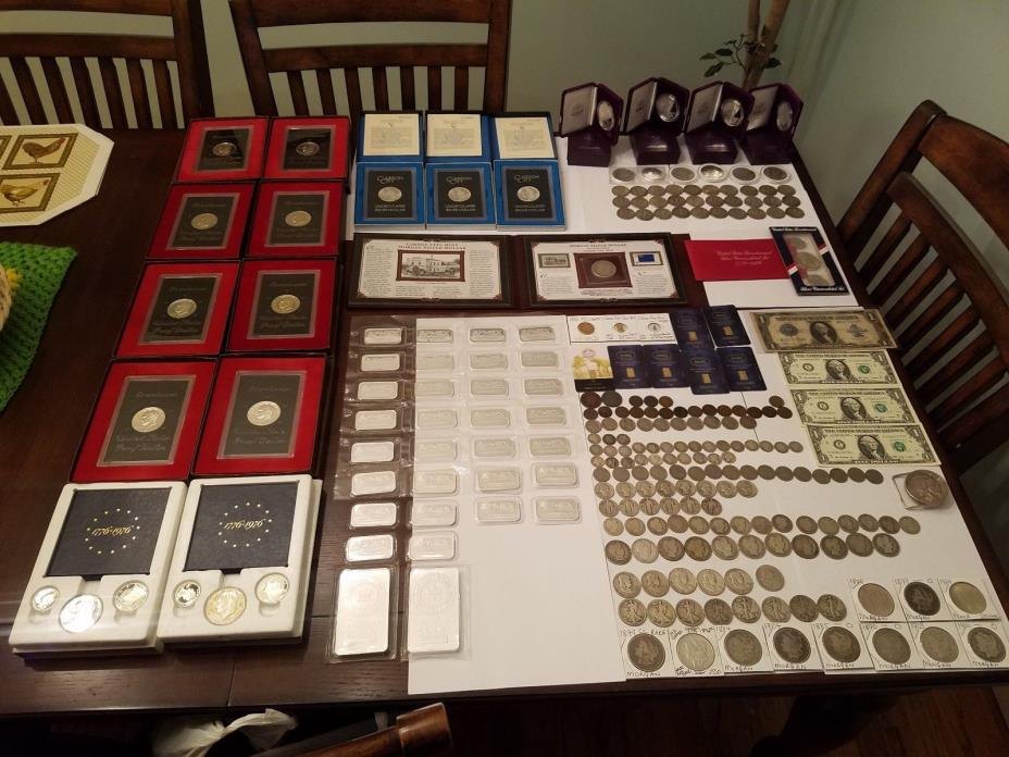 LOT GOLD,MORGAN .WALKING LIBERTY,SILVER BARS,SILVER EAGLE   AND MANY MORE
