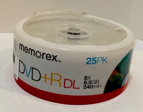 Memorex Dual Layer DVD+R 25-pack - 8X, 8.5GB, 240 mins
