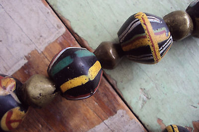 VINTAGE ANTIQUE AFRICAN GLASS AND BRASS TRADE BEAD NECKLACE