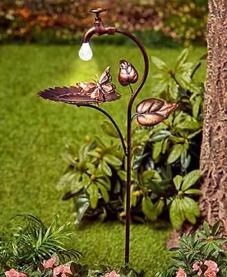 Solar Birdbaths Bronze Sunflower Purple Flower Metal Bird Feeder 5