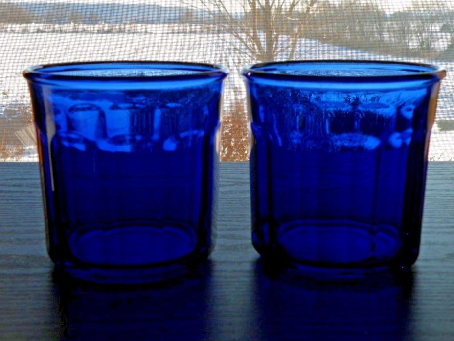 Set of 2 ARCOROC LUMINARC Cobalt Blue 500ml Glass Tumbler 10 Panel France
