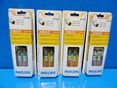 4 x PHILIPS SWV3502W/27 S-Video Cable - 24K Gold Plated Connectors - 6 Ft ~13975