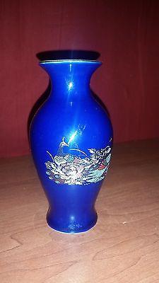 Japanese Vintage Blue Peacock Japanese Vase