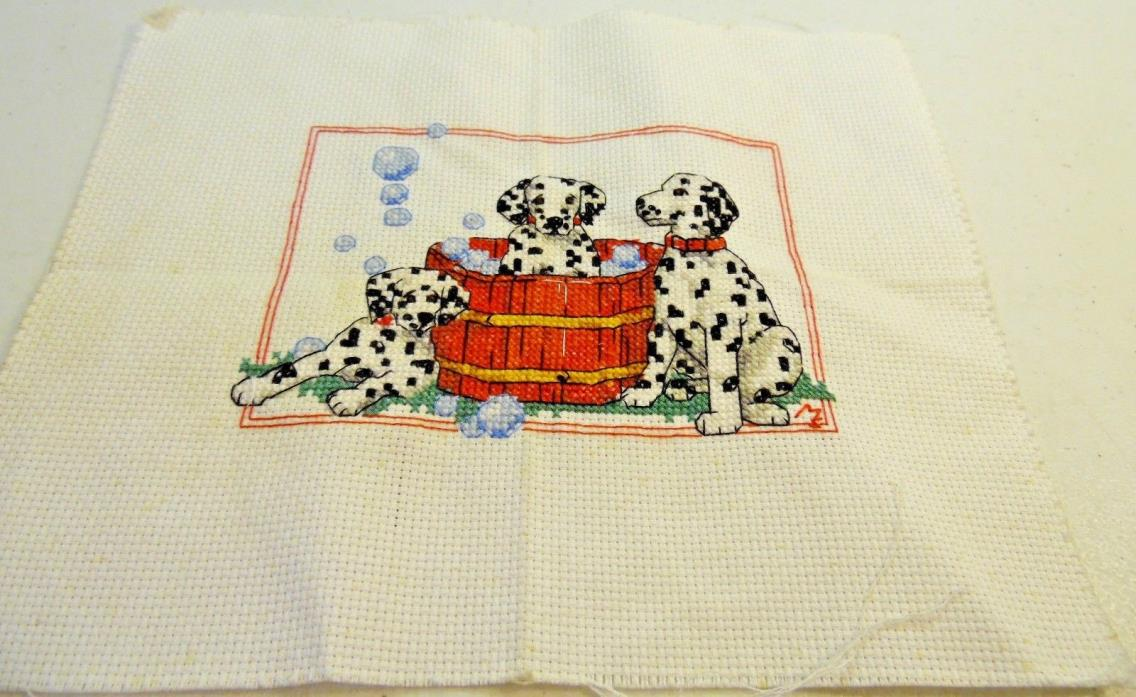 Fire Department Fireman Icon Images Dalmatian Dogs In Bath Finished Cross Stitch