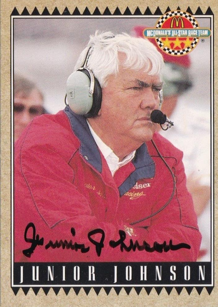 Junior Johnson signed 1992 Maxx trading card NASCAR HOF 2010