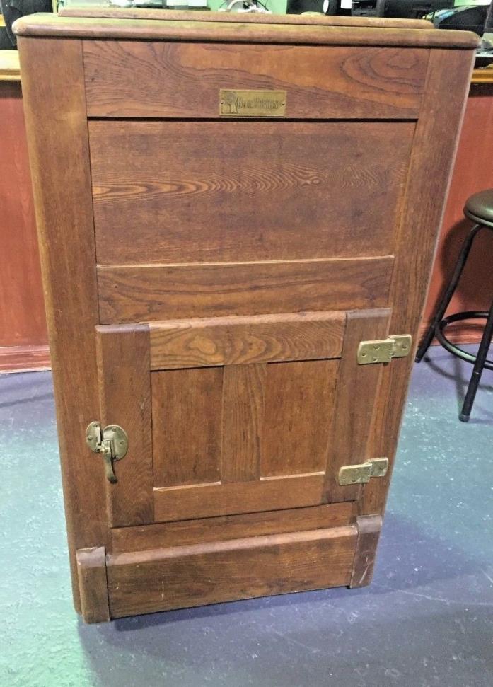 Antique Blue Ribbon Oak Ice Box on casters w/ Flapper Door For Drain Pan.