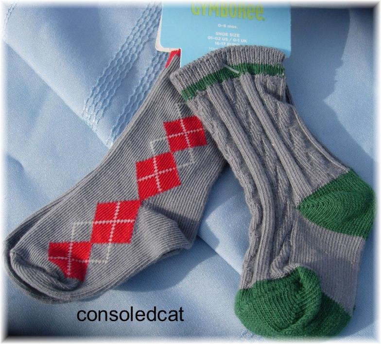 NWT Gymboree Baby Boy 0-6 mo Dress Argyle Cable Knit Socks Grey Red Green