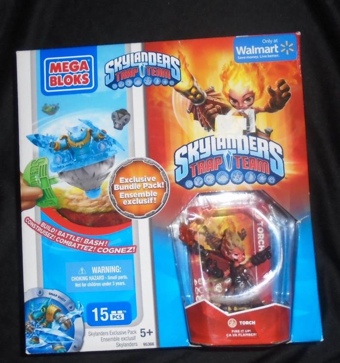 MEGA BLOKS Skylanders 95366 Snap Shot Spinner & Torch Trap Team Figure 15 Pc Set