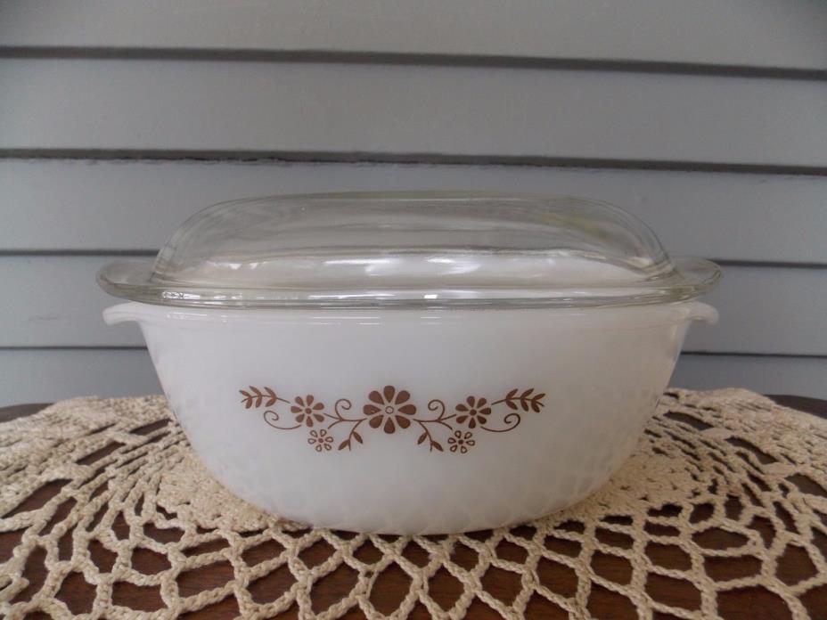Vintage Dynaware Pyr-O-Rey 2 Quart Baking Casserole Dish Brown Flowers Glass Lid