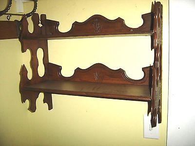 Antique Walnut Eastlake Shelf. Eastlake designs on ends & back w/ fishscale 7761