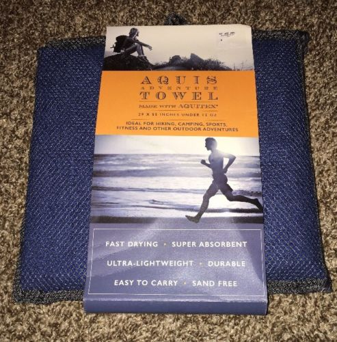 AQUIS Adventure Towel & Travel Bag Blueberry Blue Quick Dry Towel Fast Shipping