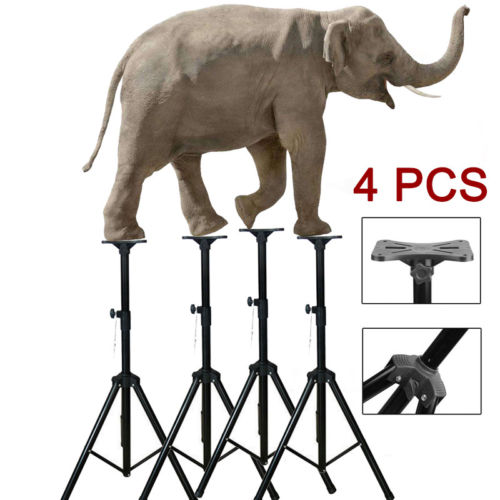4x Black Heavy Duty Tripod Speaker Stand DJ PA Adjustable Height  w/ mount